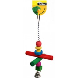 Avi-One Bird Toy Coloured Wood/Chain/Perch/Beads/Bell
