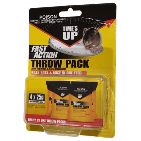 Times Up Fast Action Throw Pack Rat Bait 4 x 25g (100g)